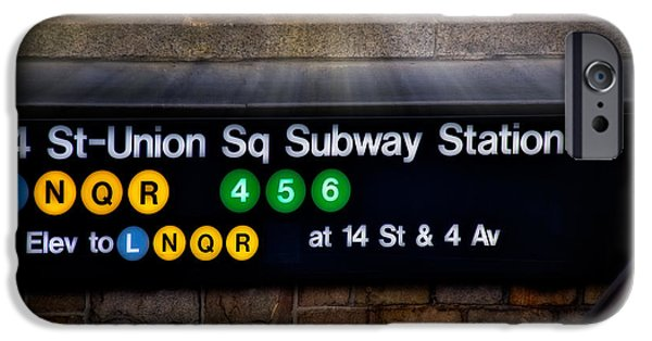 Signs iPhone Cases - Union Square Subway Station iPhone Case by Susan Candelario