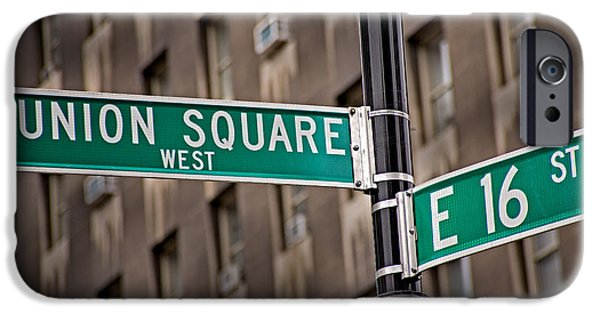 Sign iPhone Cases - Union Square West I iPhone Case by Susan Candelario