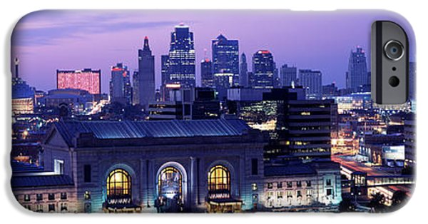 High Angle iPhone Cases - Union Station At Sunset With City iPhone Case by Panoramic Images