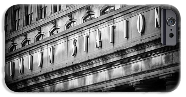 Pillars iPhone Cases - Union Station Chicago Sign in Black and White iPhone Case by Paul Velgos