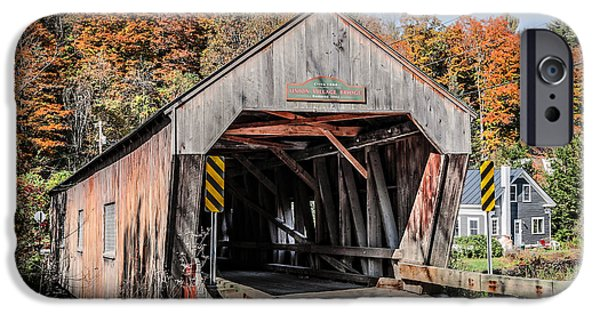 Covered Bridge iPhone Cases - Union Village Covered Bridge Thetford Vermont iPhone Case by Edward Fielding