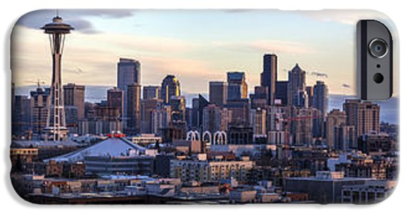 Capitol Hill iPhone Cases - Unique Seattle Evening Skyline Perspective iPhone Case by Mike Reid