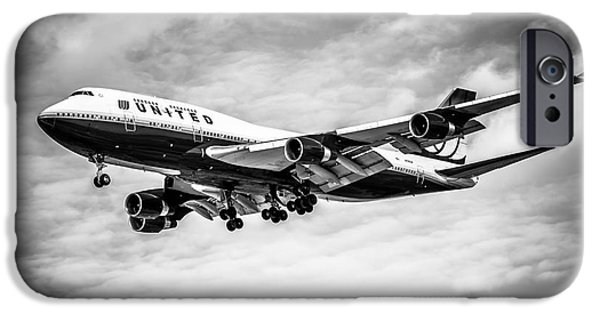 United Airlines Passenger Plane iPhone Cases - United Airlines Airplane in Black and White iPhone Case by Paul Velgos