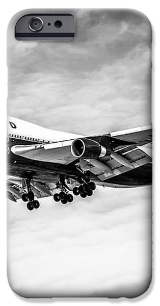 United Airlines Airplane in Black and White iPhone Case by Paul Velgos
