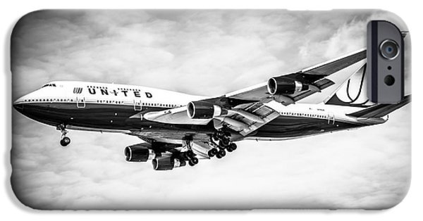 United Airlines Passenger Plane iPhone Cases - United Airlines Boeing 747 Airplane Black and White iPhone Case by Paul Velgos