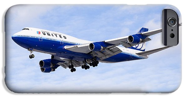 United Airlines Passenger Plane iPhone Cases - United Airlines Boeing 747 Airplane Flying iPhone Case by Paul Velgos