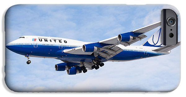United Airlines Passenger Plane iPhone Cases - United Airlines Boeing 747 Airplane Landing iPhone Case by Paul Velgos
