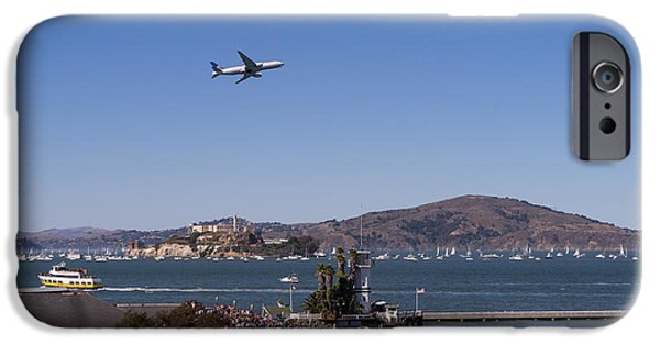 United Airlines Passenger Plane iPhone Cases - United Airlines Jet Over San Francisco Alcatraz Island DSC1765 iPhone Case by Wingsdomain Art and Photography