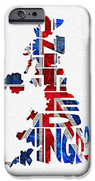 Original Watercolor iPhone Cases - United Kingdom Typographic Kingdom iPhone Case by Ayse Deniz
