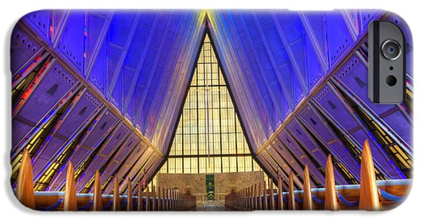 United States iPhone Cases - United States Airforce Academy Chapel Interior iPhone Case by Bob Christopher
