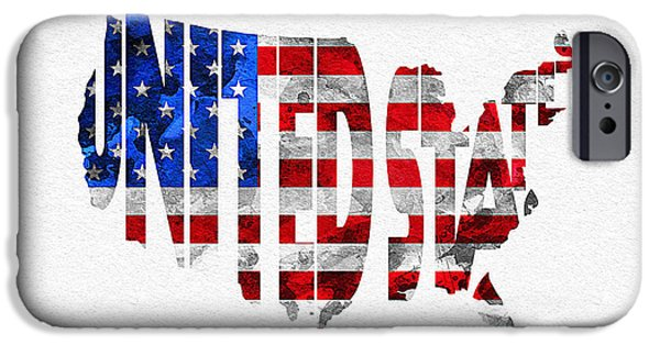Nation iPhone Cases - United States Typographic Map Flag iPhone Case by Ayse Deniz