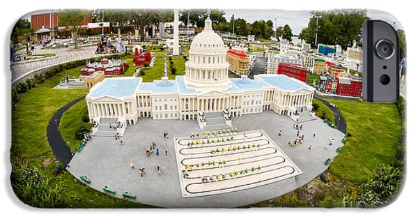 District Columbia Photographs iPhone Cases - United States Capital Building at Legoland iPhone Case by Edward Fielding