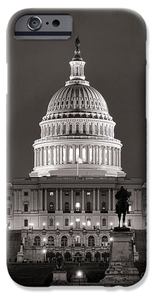Capitol iPhone Cases - United States Capitol at Night iPhone Case by Olivier Le Queinec