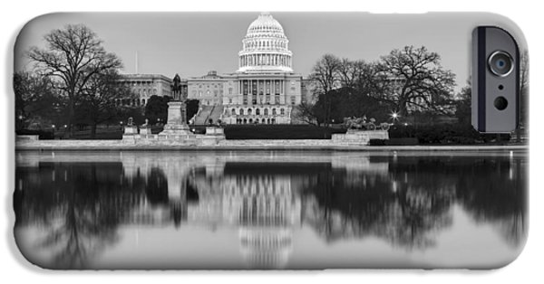 D.c. iPhone Cases - United States Capitol Building BW iPhone Case by Susan Candelario