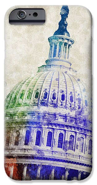 National Mall iPhone Cases - United States Capitol Dome iPhone Case by Aged Pixel