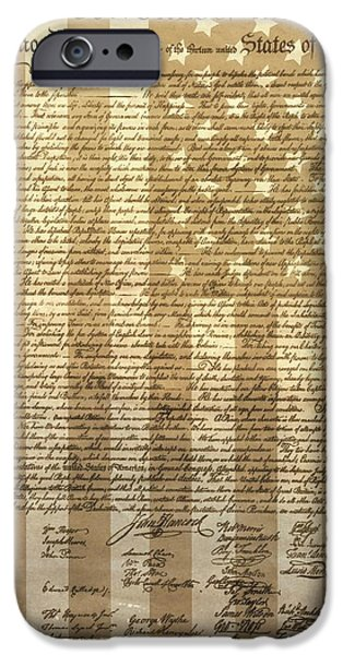 4th July Mixed Media iPhone Cases - United States Declaration Of Independence iPhone Case by Dan Sproul