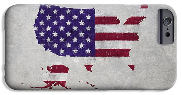 Stripe.paint iPhone Cases - United States Flag Map iPhone Case by World Art Prints And Designs