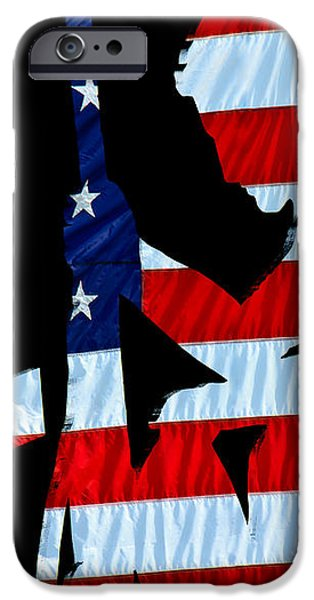 United States Flag with kneeling Soldier silhouette iPhone Case by Bob Orsillo