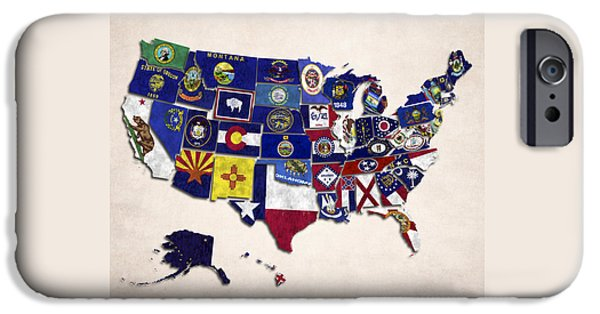 Arkansas iPhone Cases - United States Map With Fifty States iPhone Case by World Art Prints And Designs