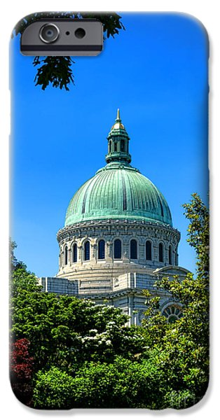 Annapolis Maryland iPhone Cases - United States Naval Academy Chapel iPhone Case by Olivier Le Queinec