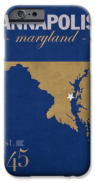 Naval College iPhone Cases - United States Naval Academy Navy Midshipmen Annapolis College Town State Map Poster Series No 070 iPhone Case by Design Turnpike
