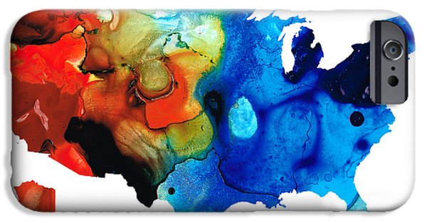 Patriotism Paintings iPhone Cases - United States of America Map 4 - Colorful USA iPhone Case by Sharon Cummings