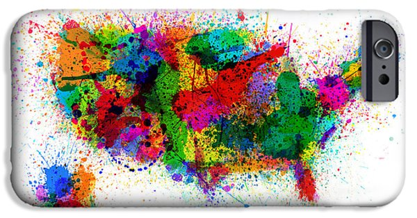 Usa Map iPhone Cases - United States Paint Splashes Map iPhone Case by Michael Tompsett