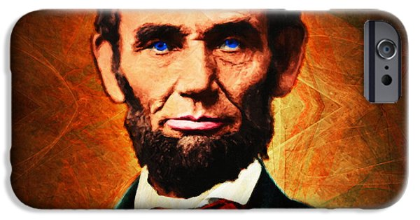 4th July Digital Art iPhone Cases - United States President Abraham Lincoln 20140914 square iPhone Case by Wingsdomain Art and Photography