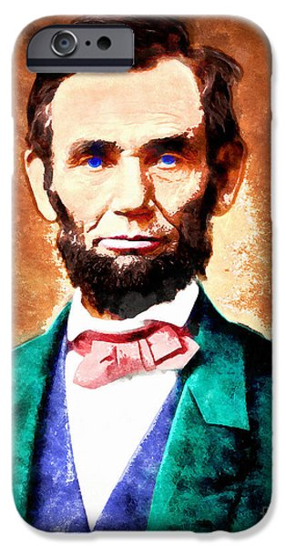 4th July iPhone Cases - United States President Abraham Lincoln 20140914wc v1 iPhone Case by Wingsdomain Art and Photography