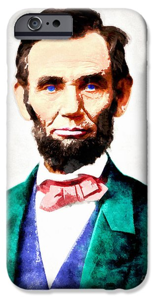 4th July iPhone Cases - United States President Abraham Lincoln 20140914wc v2 iPhone Case by Wingsdomain Art and Photography