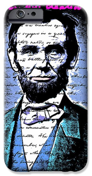 July 4th iPhone Cases - United States President Abraham Lincoln Gettysburg Address All Men Are Created Equal 20140914poster iPhone Case by Wingsdomain Art and Photography