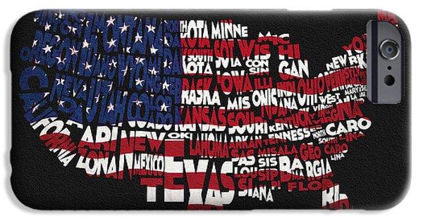 Usa Flag Mixed Media iPhone Cases - United States Typographic Map Flag - Black Background iPhone Case by Ayse Deniz