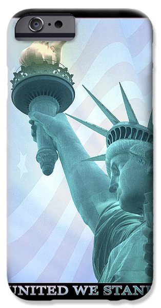 American Flag Digital Art iPhone Cases - United We Stand iPhone Case by Mike McGlothlen