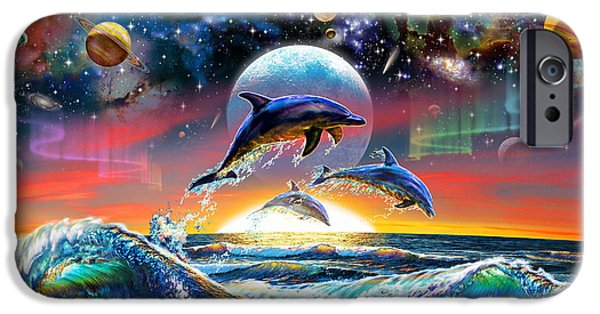 Astral iPhone Cases - Universal Dolphins iPhone Case by Adrian Chesterman