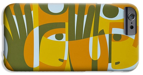 Figure iPhone Cases - Universal Light Within 2, 1989 Acrylic On Board iPhone Case by Ron Waddams