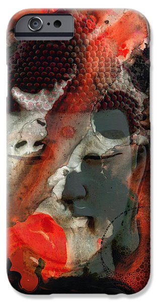 Yin iPhone Cases - Universal Qi - Zen Black And Red Art iPhone Case by Sharon Cummings