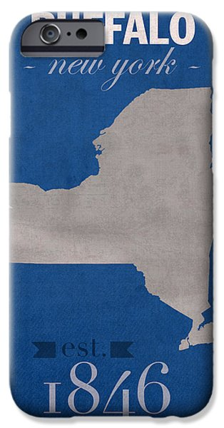 Bulls Mixed Media iPhone Cases - University at Buffalo New York Bulls College Town State Map Poster Series No 022 iPhone Case by Design Turnpike