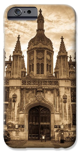 University Entrance Door Sepia iPhone Case by Douglas Barnett