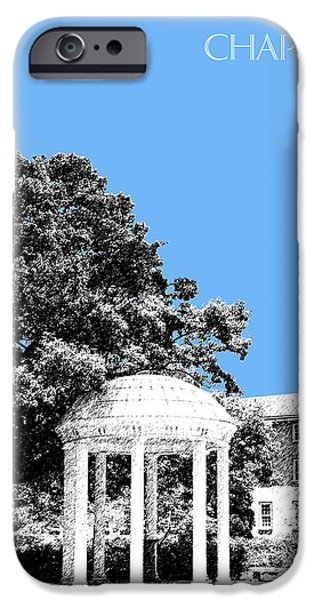Pen And Ink Digital Art iPhone Cases - University North Carolina Chapel Hill - Light Blue iPhone Case by DB Artist