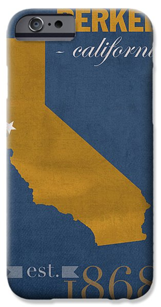 California State Map iPhone Cases - University of California at Berkeley Golden Bears College Town State Map Poster Series No 024 iPhone Case by Design Turnpike