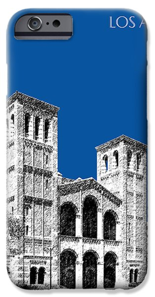 Pen And Ink iPhone Cases - University of California Los Angeles - Royal Blue iPhone Case by DB Artist
