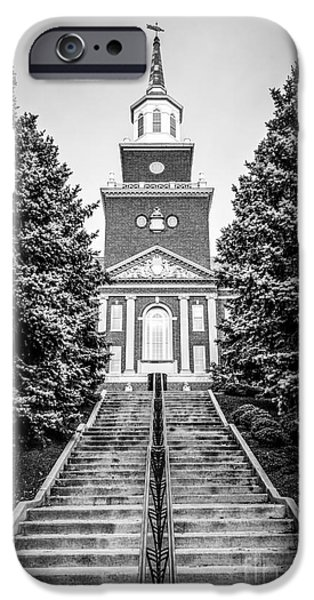 Campuses iPhone Cases - University of Cincinnati McMicken Hall Black and White Picture iPhone Case by Paul Velgos