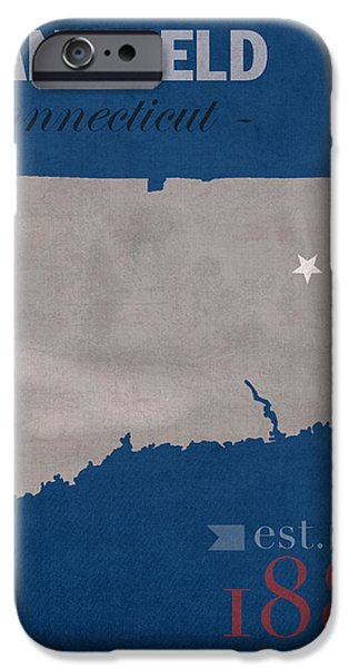 Husky iPhone Cases - University of Connecticut Huskies Mansfield College Town State Map Poster Series No 033 iPhone Case by Design Turnpike