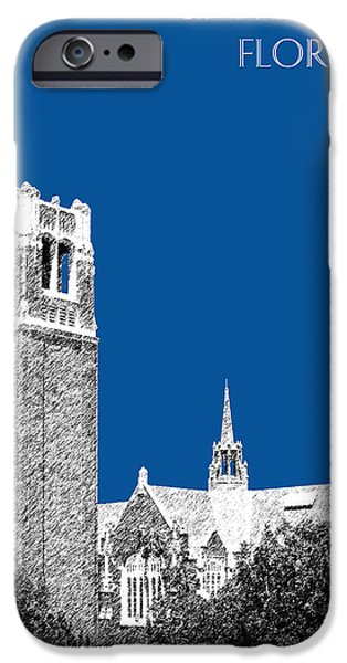 Pen And Ink iPhone Cases - University of Florida - Royal Blue iPhone Case by DB Artist