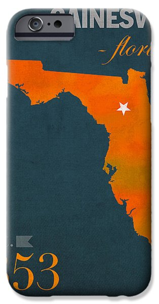 Universities Mixed Media iPhone Cases - University of Florida Gators Gainesville College Town Florida State Map Poster Series No 003 iPhone Case by Design Turnpike