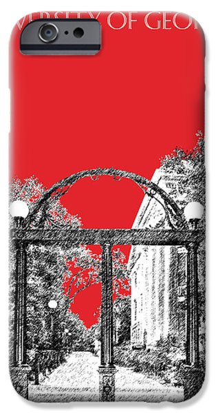 Pen And Ink iPhone Cases - University of Georgia - Georgia Arch - Red iPhone Case by DB Artist
