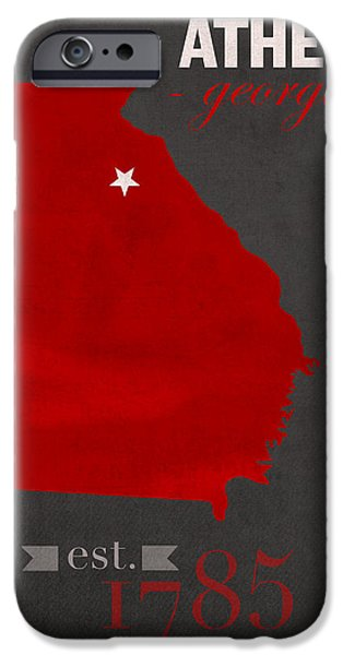Athens iPhone Cases - University of Georgia Bulldogs Athens College Town State Map Poster Series No 040 iPhone Case by Design Turnpike