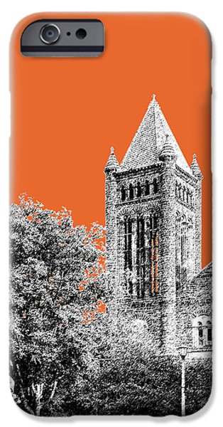 Pen And Ink iPhone Cases - University of Illinois 2 - Altgeld Hall - Coral iPhone Case by DB Artist