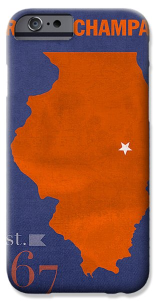 Universities Mixed Media iPhone Cases - University of Illinois Fighting Illini Urbana Champaign College Town State Map Poster Series No 047 iPhone Case by Design Turnpike