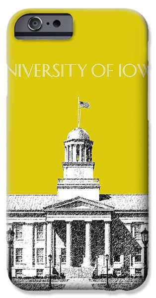 Pen And Ink iPhone Cases - University of Iowa - Mustard Yellow iPhone Case by DB Artist